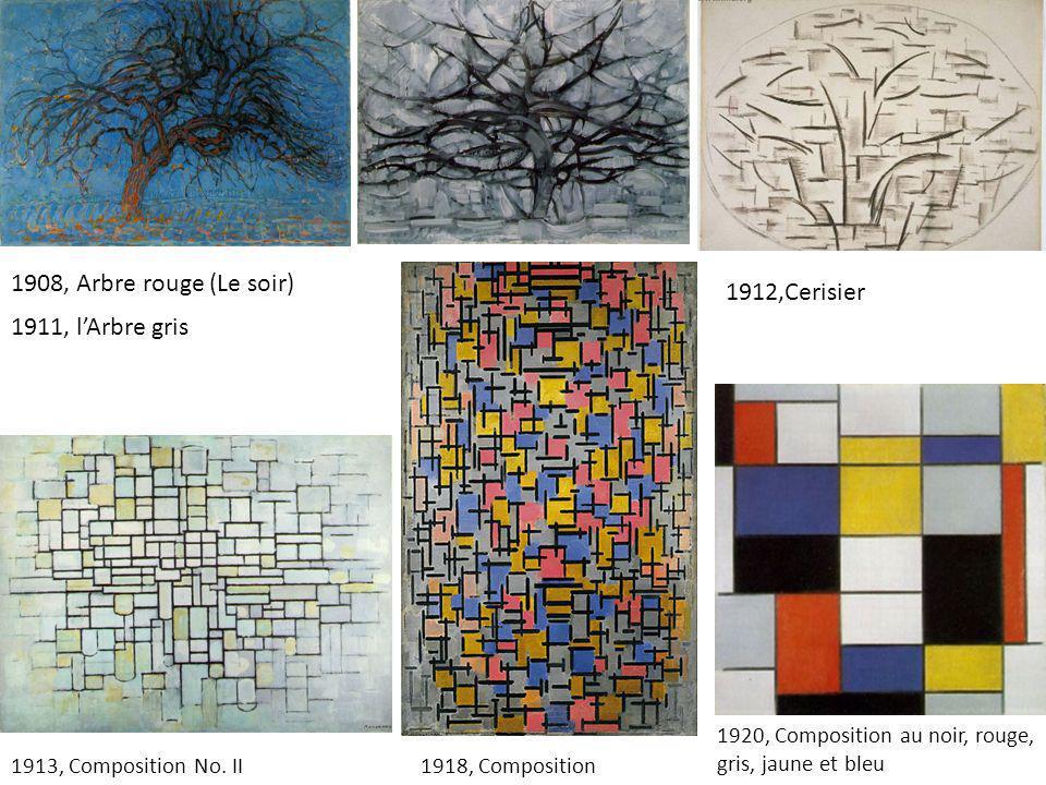 1913, Composition No. II1918, Composition 1920, Composition au noir, rouge, gris, jaune et bleu 1908, Arbre rouge (Le soir) 1911, l'Arbre gris 1912,Ce