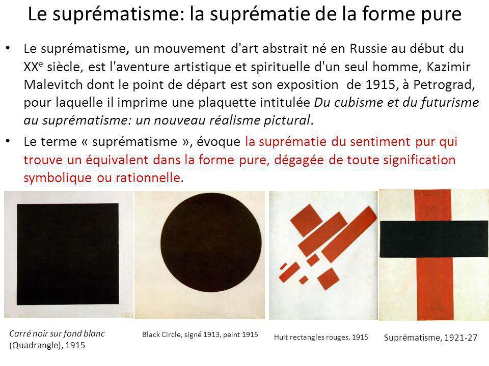 Le suprématisme: la suprématie de la forme pure Le suprématisme, un mouvement d'art abstrait né en Russie au début du XX e siècle, est l'aventure arti