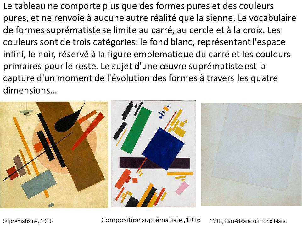 Suprématisme, 19161918, Carré blanc sur fond blanc Le tableau ne comporte plus que des formes pures et des couleurs pures, et ne renvoie à aucune autr