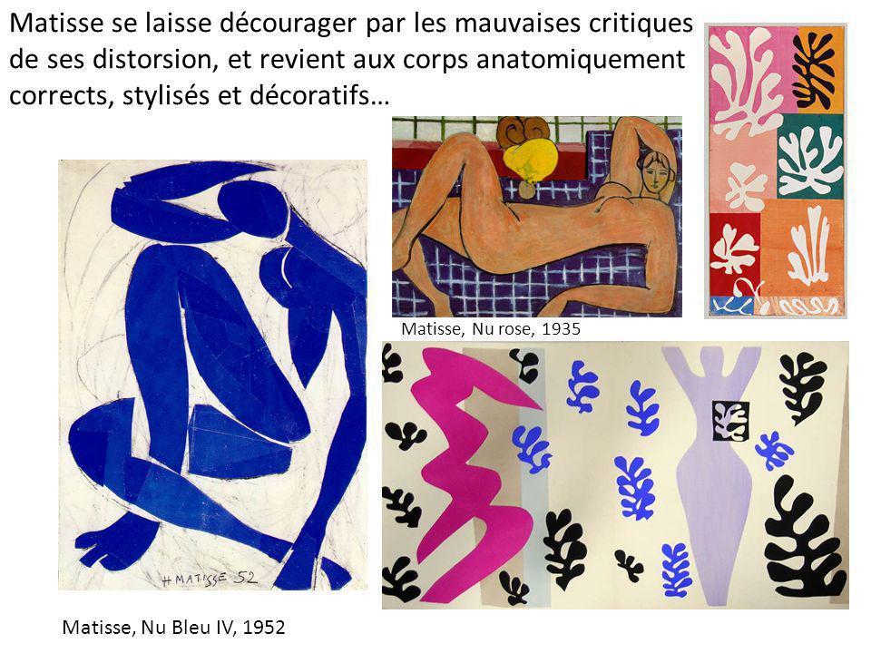 Matisse se laisse décourager par les mauvaises critiques de ses distorsion, et revient aux corps anatomiquement corrects, stylisés et décoratifs… Mati