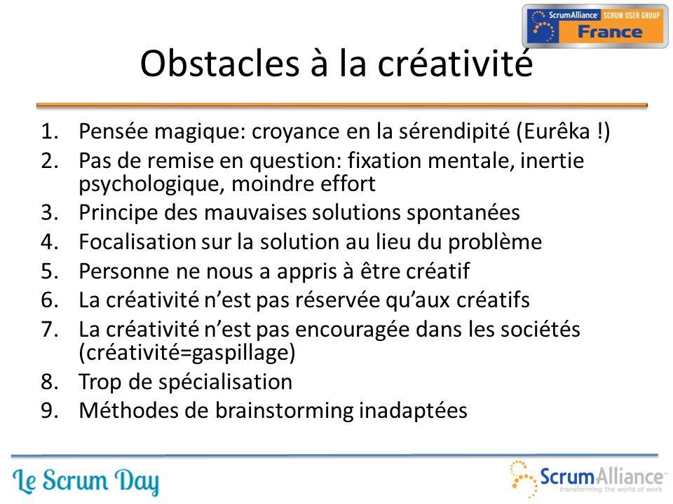 1.Pensée magique: croyance en la sérendipité (Eurêka !) 2.Pas de remise en question: fixation mentale, inertie psychologique, moindre effort 3.Principe des mauvaises solutions spontanées 4.Focalisation sur la solution au lieu du problème 5.Personne ne nous a appris à être créatif 6.La créativité n'est pas réservée qu'aux créatifs 7.La créativité n'est pas encouragée dans les sociétés (créativité=gaspillage) 8.Trop de spécialisation 9.Méthodes de brainstorming inadaptées Obstacles à la créativité