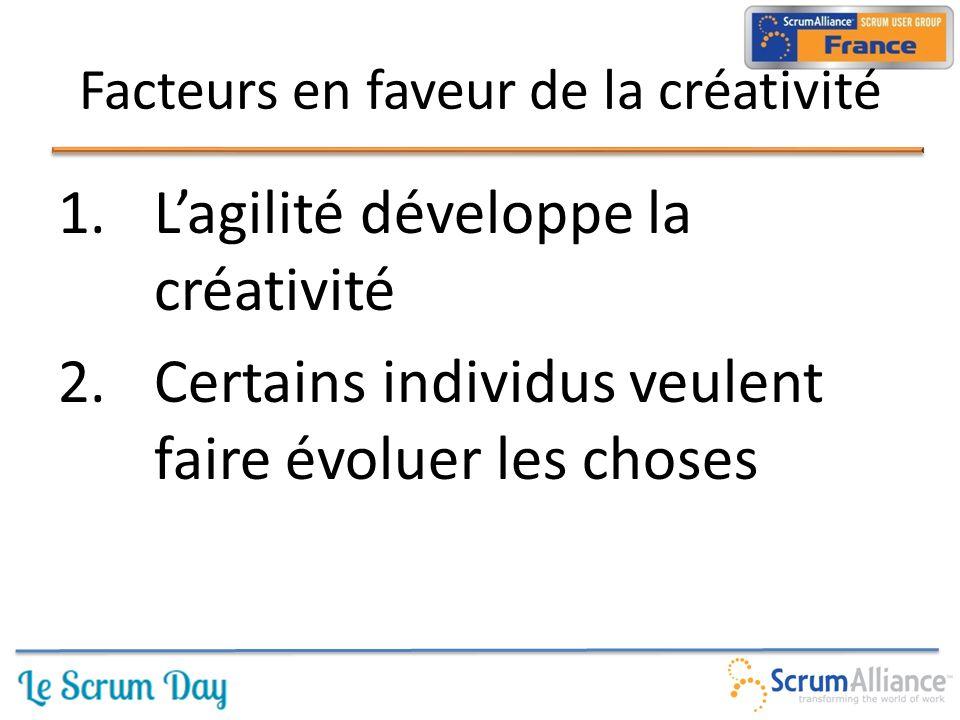 1.L'agilité développe la créativité 2.Certains individus veulent faire évoluer les choses Facteurs en faveur de la créativité