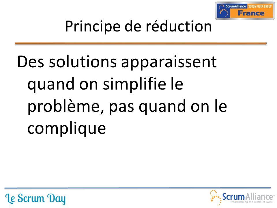 Des solutions apparaissent quand on simplifie le problème, pas quand on le complique Principe de réduction