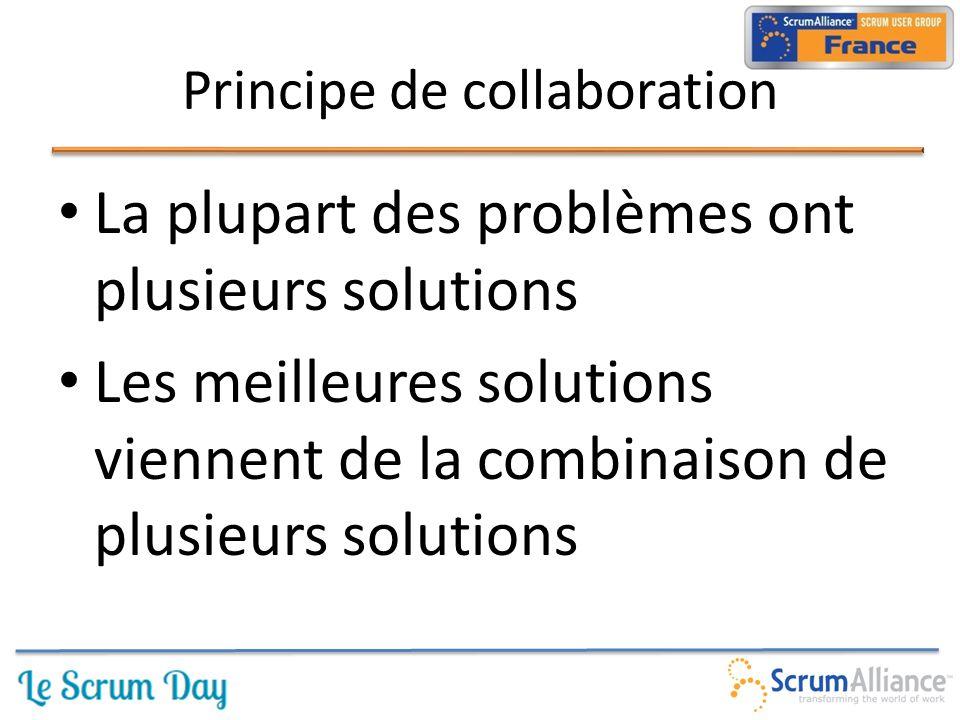 La plupart des problèmes ont plusieurs solutions Les meilleures solutions viennent de la combinaison de plusieurs solutions Principe de collaboration