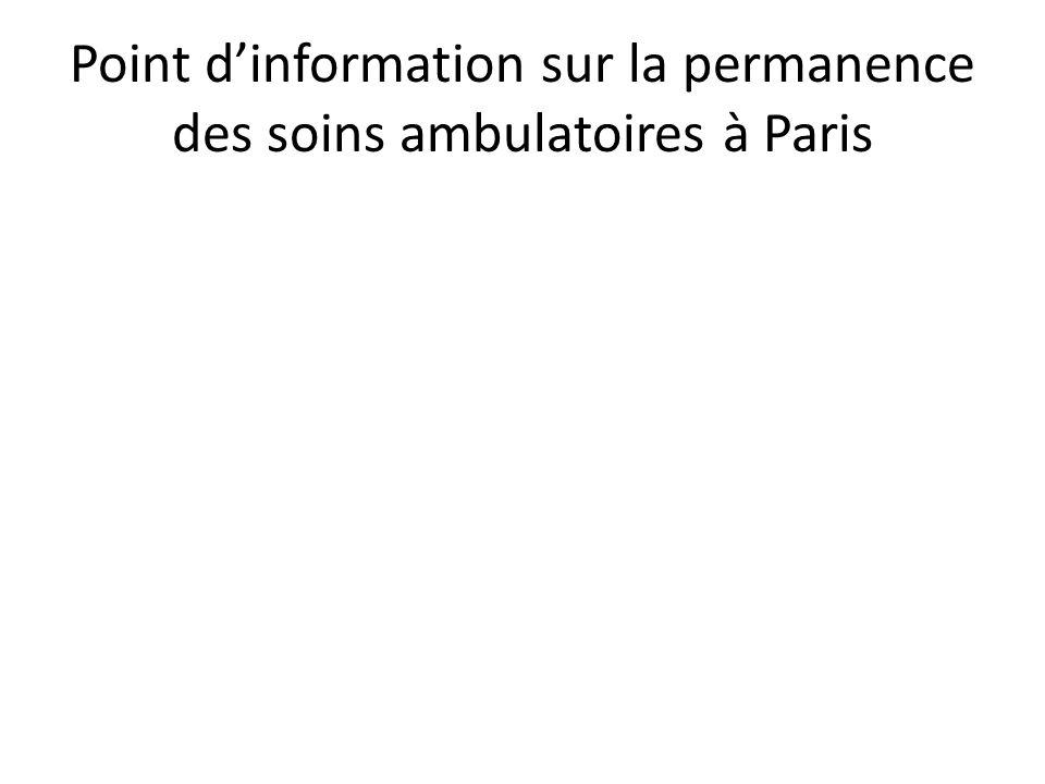 Point d'information sur la permanence des soins ambulatoires à Paris