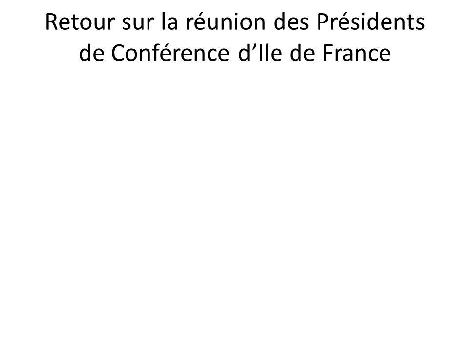Retour sur la réunion des Présidents de Conférence d'Ile de France