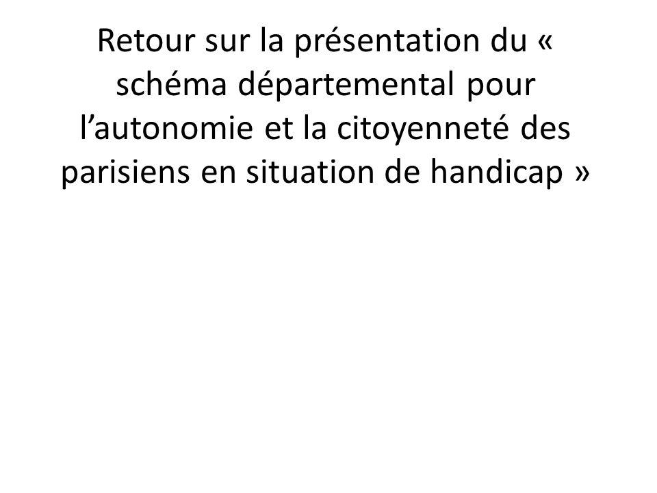 Retour sur la présentation du « schéma départemental pour l'autonomie et la citoyenneté des parisiens en situation de handicap »