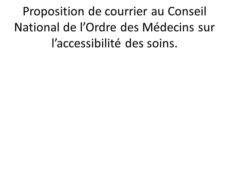 Proposition de courrier au Conseil National de l'Ordre des Médecins sur l'accessibilité des soins.