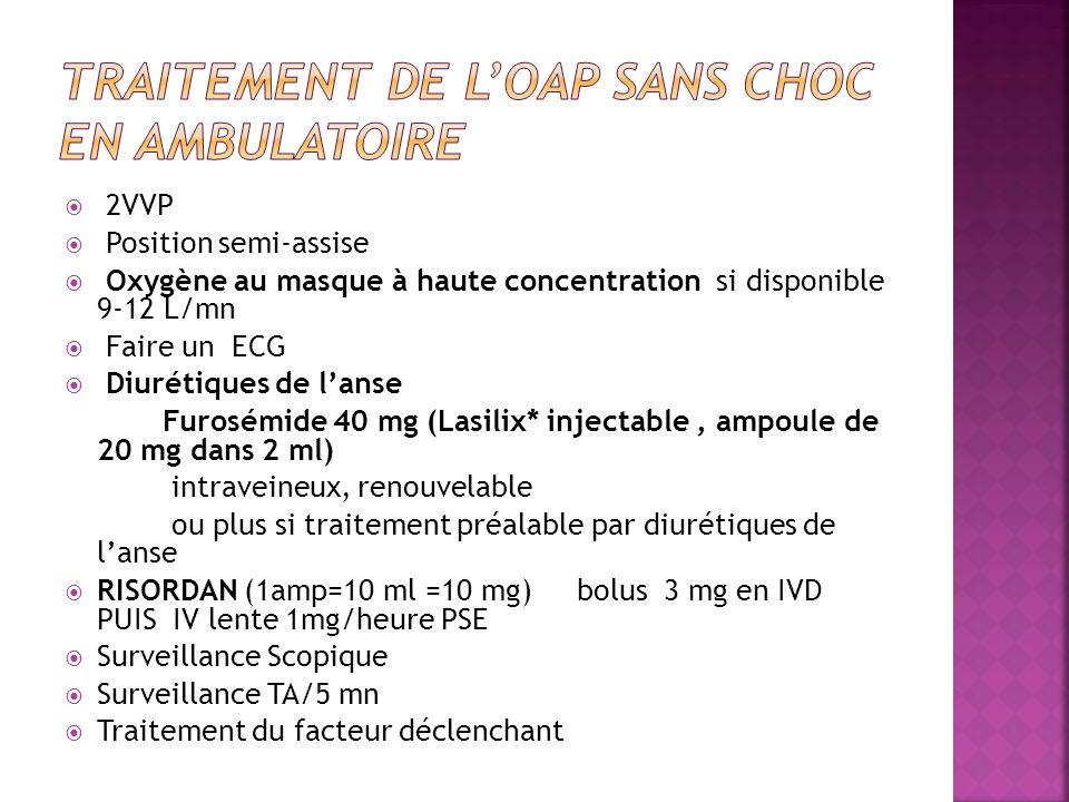  2VVP  Position semi-assise  Oxygène au masque à haute concentration si disponible 9-12 L/mn  Faire un ECG  Diurétiques de l'anse Furosémide 40 mg (Lasilix* injectable, ampoule de 20 mg dans 2 ml) intraveineux, renouvelable ou plus si traitement préalable par diurétiques de l'anse  RISORDAN (1amp=10 ml =10 mg) bolus 3 mg en IVD PUIS IV lente 1mg/heure PSE  Surveillance Scopique  Surveillance TA/5 mn  Traitement du facteur déclenchant