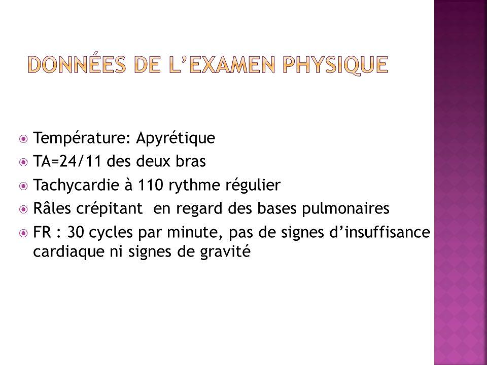  Température: Apyrétique  TA=24/11 des deux bras  Tachycardie à 110 rythme régulier  Râles crépitant en regard des bases pulmonaires  FR : 30 cycles par minute, pas de signes d'insuffisance cardiaque ni signes de gravité