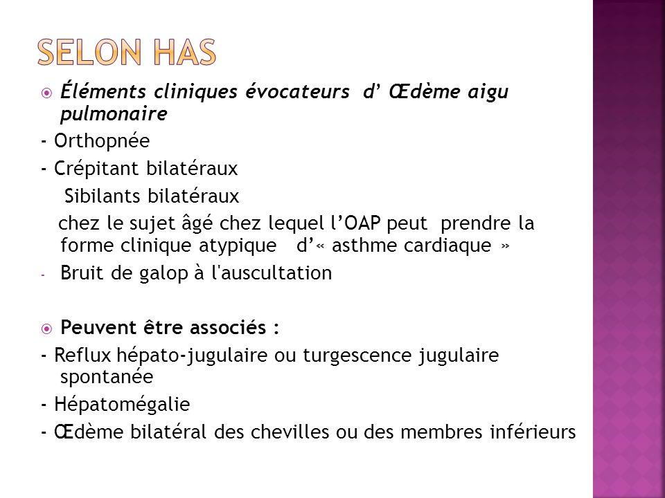  Éléments cliniques évocateurs d' Œdème aigu pulmonaire - Orthopnée - Crépitant bilatéraux Sibilants bilatéraux chez le sujet âgé chez lequel l'OAP peut prendre la forme clinique atypique d'« asthme cardiaque » - Bruit de galop à l auscultation  Peuvent être associés : - Reflux hépato-jugulaire ou turgescence jugulaire spontanée - Hépatomégalie - Œdème bilatéral des chevilles ou des membres inférieurs