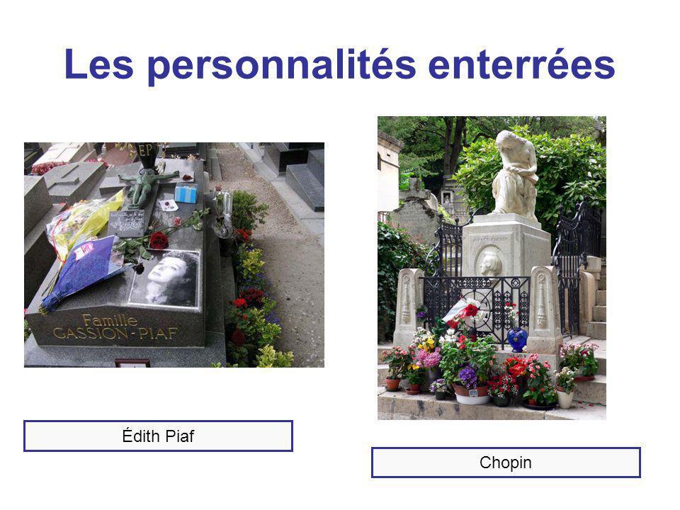 Les personnalités enterrées Édith Piaf Chopin