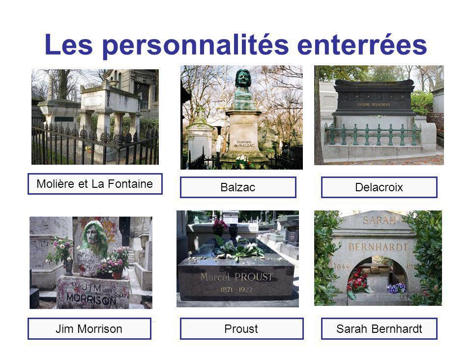 Les personnalités enterrées Molière et La Fontaine BalzacDelacroix Jim MorrisonProustSarah Bernhardt