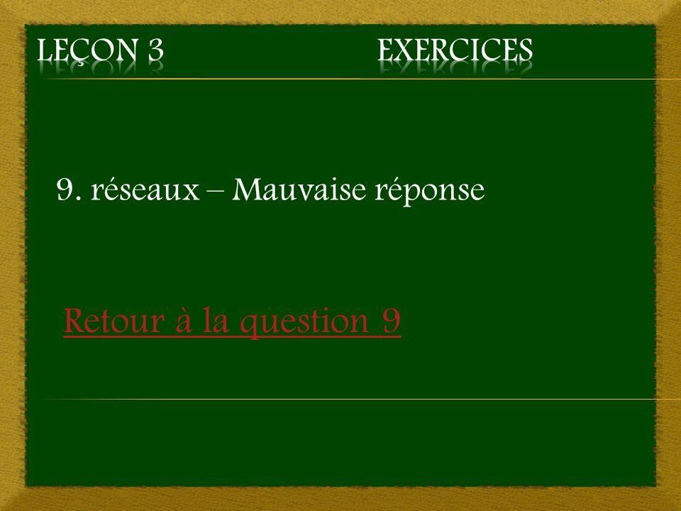 9. réseaux – Mauvaise réponse Retour à la question 9
