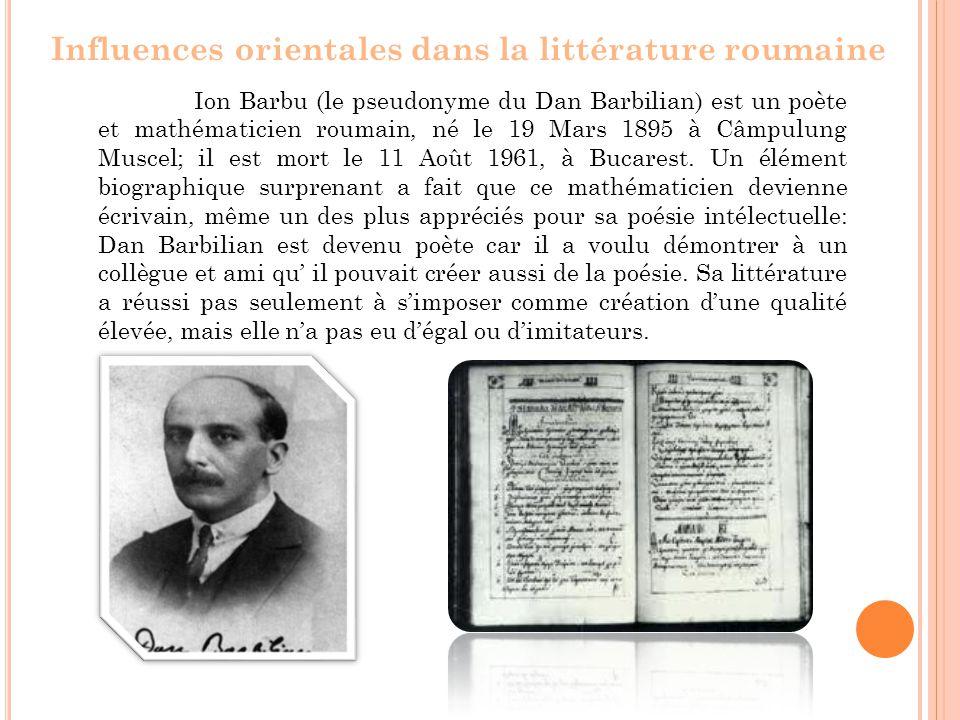 Ion Barbu (le pseudonyme du Dan Barbilian) est un poète et mathématicien roumain, né le 19 Mars 1895 à Câmpulung Muscel; il est mort le 11 Août 1961, à Bucarest.
