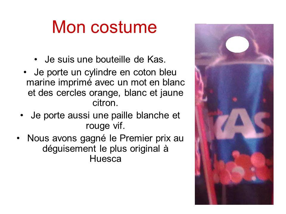 Mon costume Je suis une bouteille de Kas.