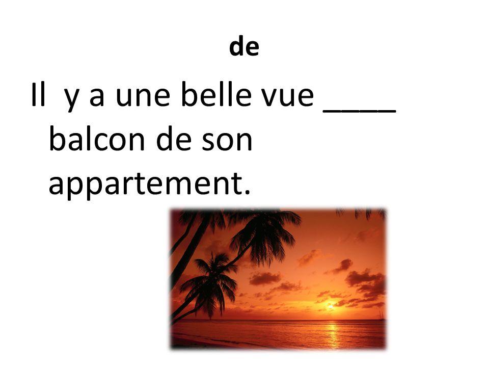 de Il y a une belle vue ____ balcon de son appartement.