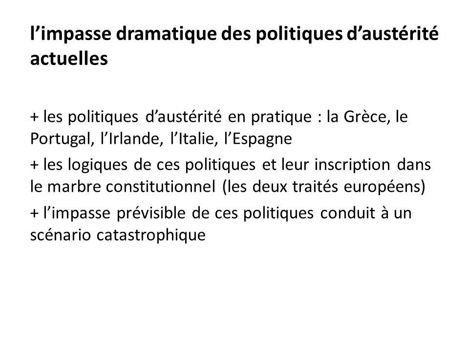 l'impasse dramatique des politiques d'austérité actuelles + les politiques d'austérité en pratique : la Grèce, le Portugal, l'Irlande, l'Italie, l'Esp