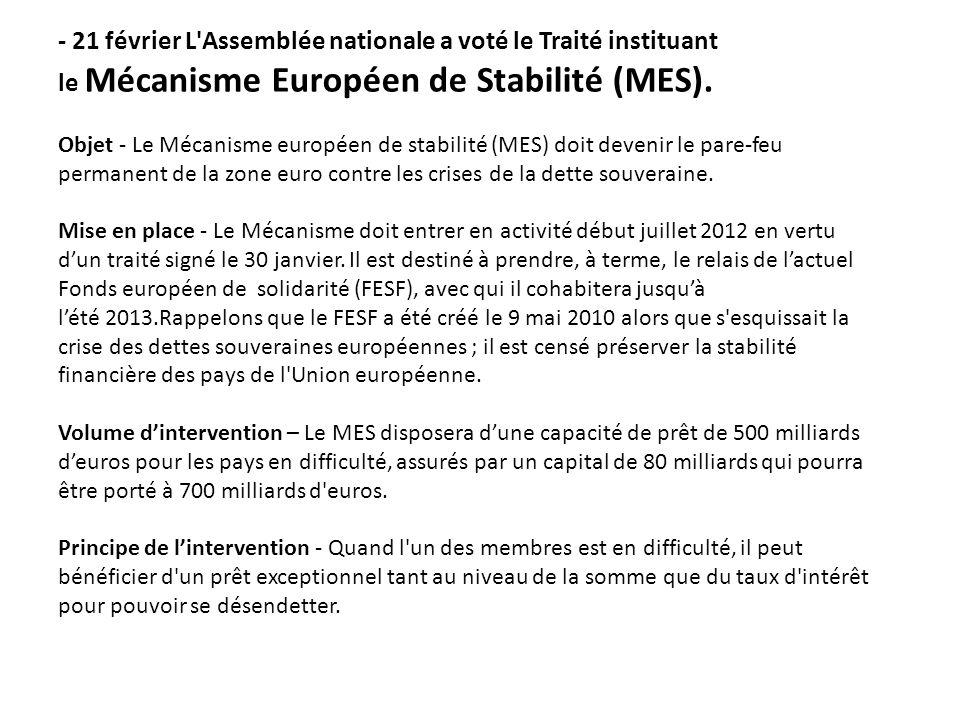 - 21 février L'Assemblée nationale a voté le Traité instituant le Mécanisme Européen de Stabilité (MES). Objet - Le Mécanisme européen de stabilité (M