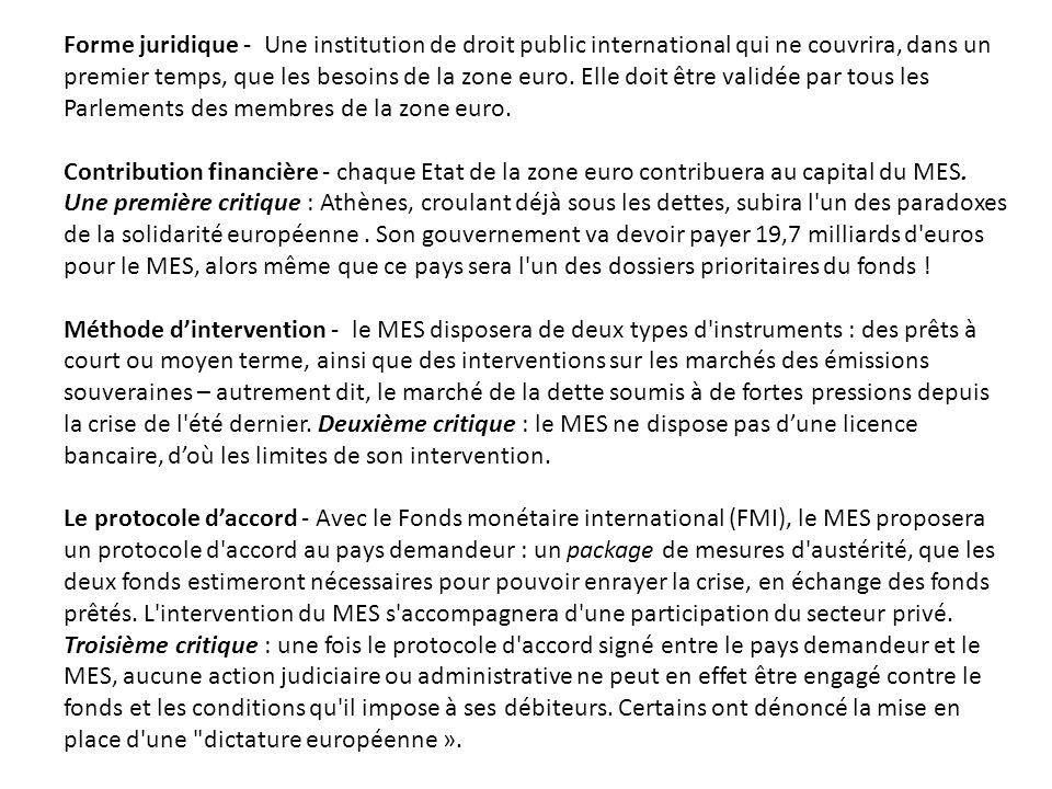 Forme juridique - Une institution de droit public international qui ne couvrira, dans un premier temps, que les besoins de la zone euro. Elle doit êtr