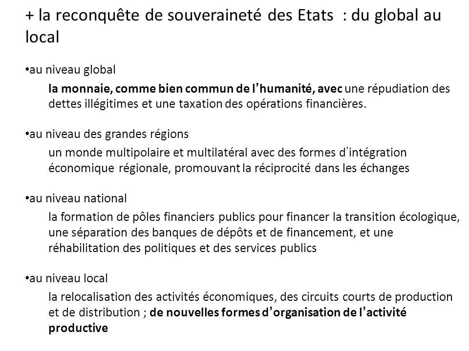 + la reconquête de souveraineté des Etats : du global au local au niveau global la monnaie, comme bien commun de l'humanité, avec une répudiation des dettes illégitimes et une taxation des opérations financières.