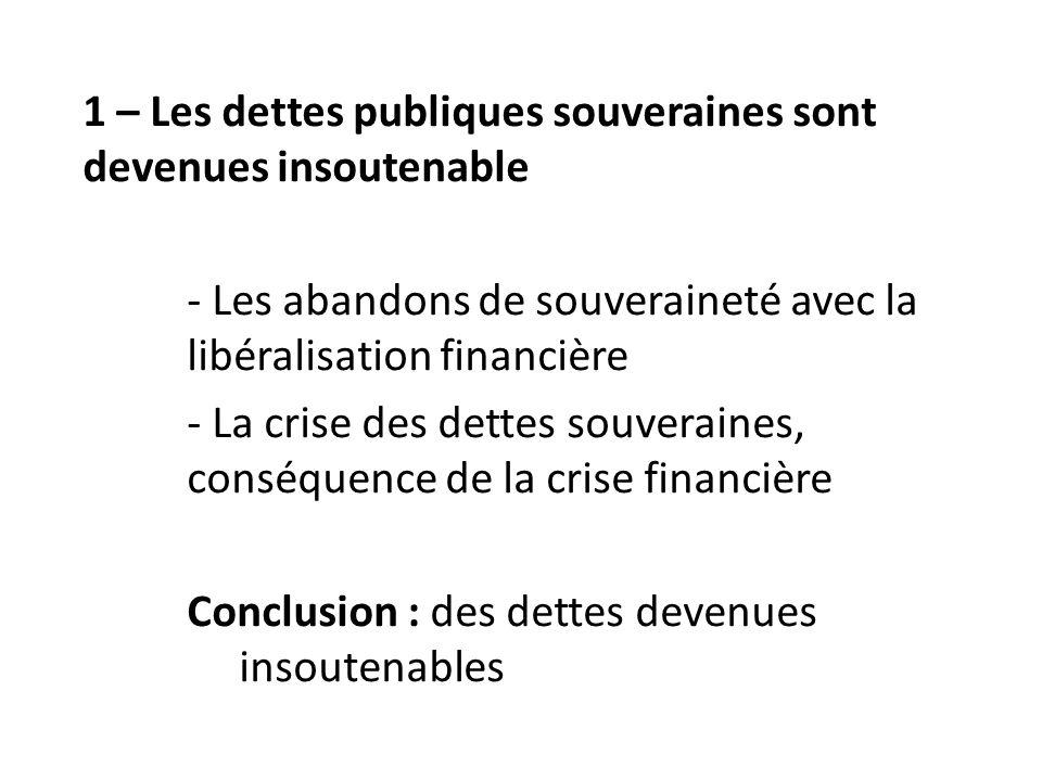 1 – Les dettes publiques souveraines sont devenues insoutenable - Les abandons de souveraineté avec la libéralisation financière - La crise des dettes souveraines, conséquence de la crise financière Conclusion : des dettes devenues insoutenables