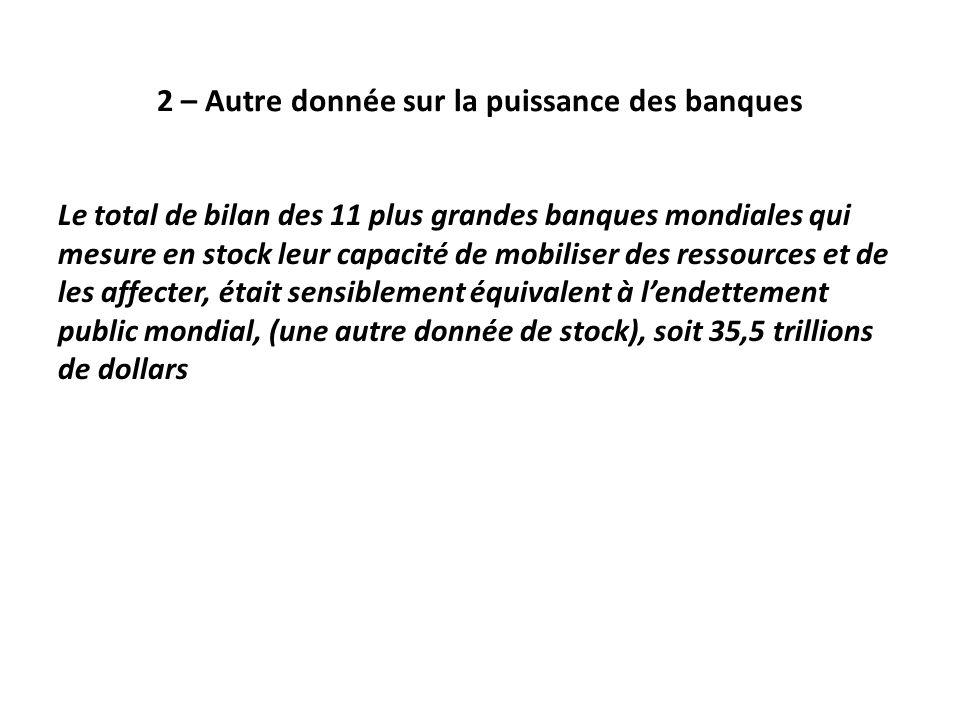 2 – Autre donnée sur la puissance des banques Le total de bilan des 11 plus grandes banques mondiales qui mesure en stock leur capacité de mobiliser des ressources et de les affecter, était sensiblement équivalent à l'endettement public mondial, (une autre donnée de stock), soit 35,5 trillions de dollars