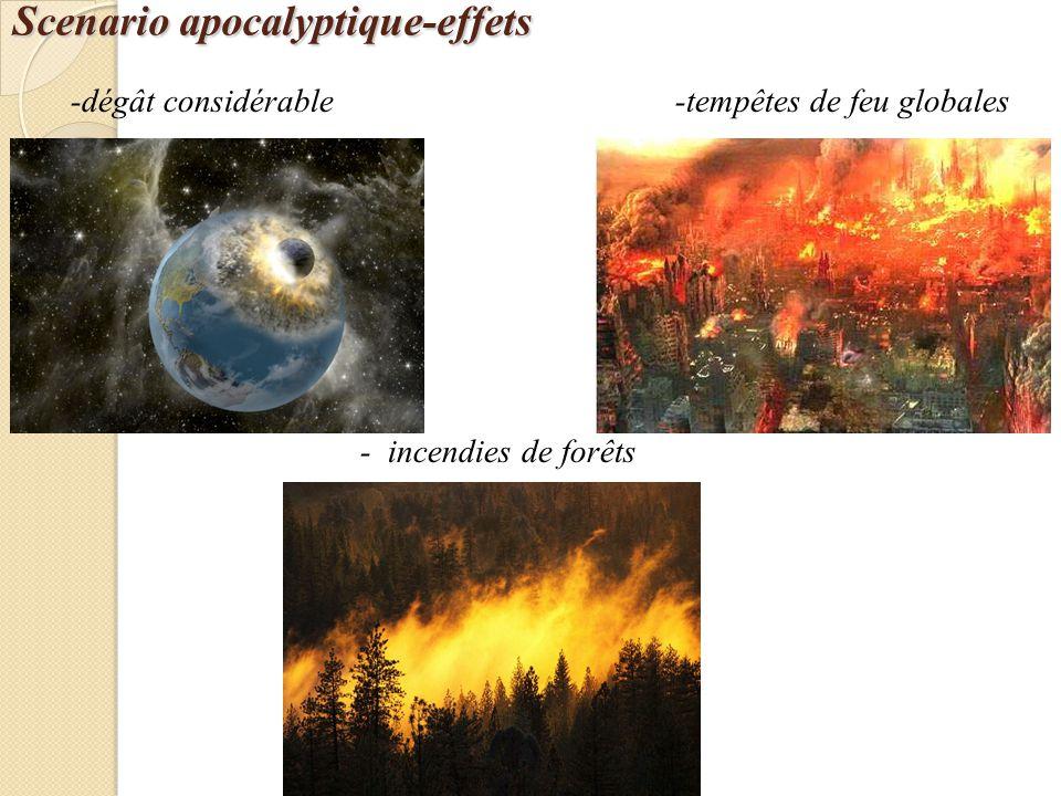 Scenario apocalyptique-effets -dégât considérable -tempêtes de feu globales - incendies de forêts