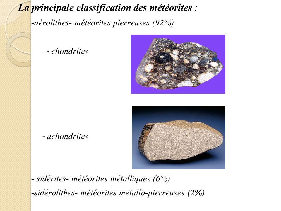 La principale classification des météorites : -aérolithes- météorites pierreuses (92%) ~chondrites ~achondrites - sidérites- météorites métalliques (6%) -sidérolithes- météorites metallo-pierreuses (2%)