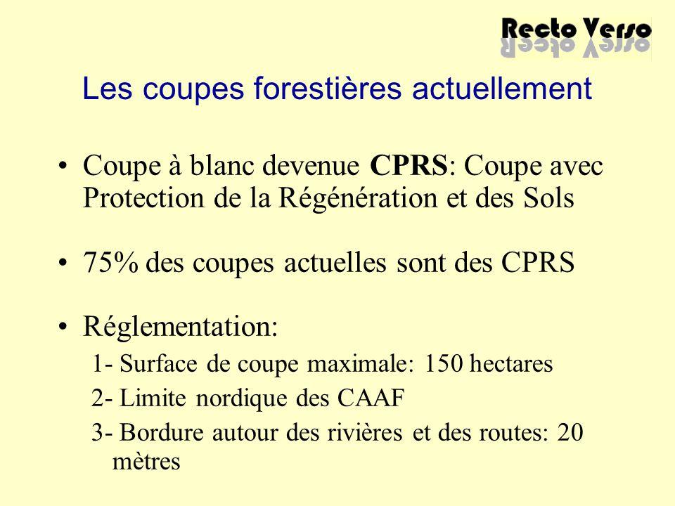 Les coupes forestières actuellement Coupe à blanc devenue CPRS: Coupe avec Protection de la Régénération et des Sols 75% des coupes actuelles sont des