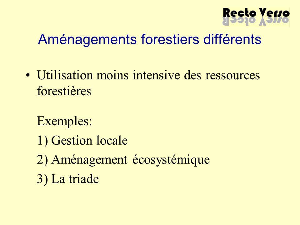 Aménagements forestiers différents Utilisation moins intensive des ressources forestières Exemples: 1) Gestion locale 2) Aménagement écosystémique 3)