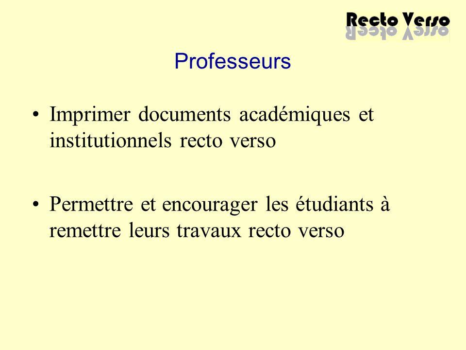 Professeurs Imprimer documents académiques et institutionnels recto verso Permettre et encourager les étudiants à remettre leurs travaux recto verso