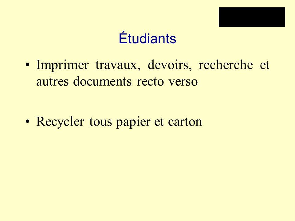 Étudiants Imprimer travaux, devoirs, recherche et autres documents recto verso Recycler tous papier et carton