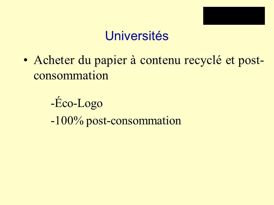 Universités Acheter du papier à contenu recyclé et post- consommation -Éco-Logo -100% post-consommation