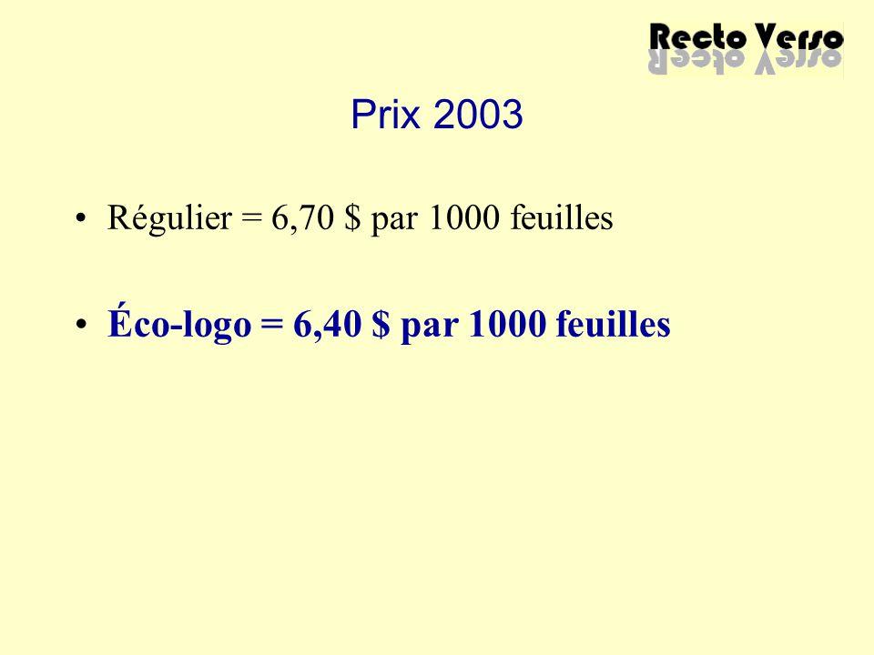 Prix 2003 Régulier = 6,70 $ par 1000 feuilles Éco-logo = 6,40 $ par 1000 feuilles