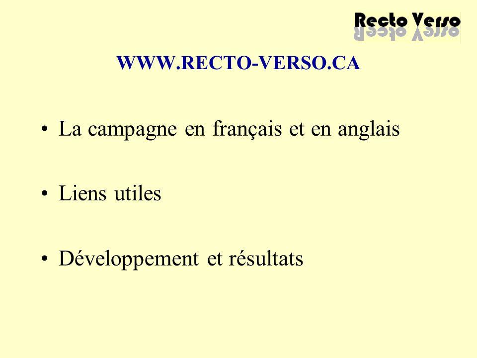 WWW.RECTO-VERSO.CA La campagne en français et en anglais Liens utiles Développement et résultats