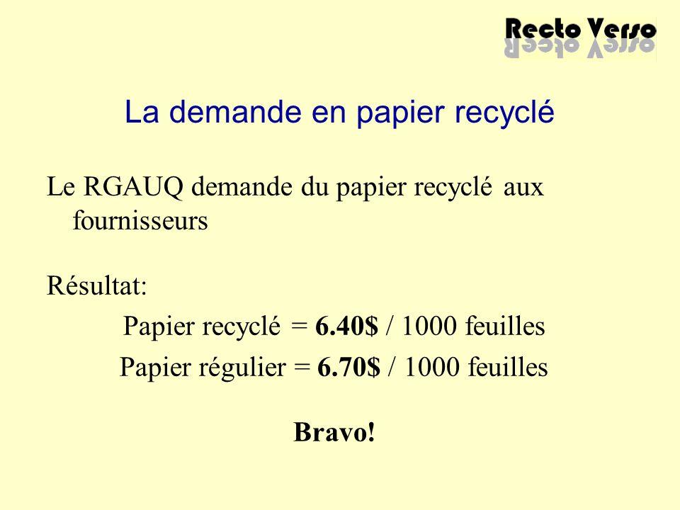 La demande en papier recyclé Le RGAUQ demande du papier recyclé aux fournisseurs Résultat: Papier recyclé = 6.40$ / 1000 feuilles Papier régulier = 6.