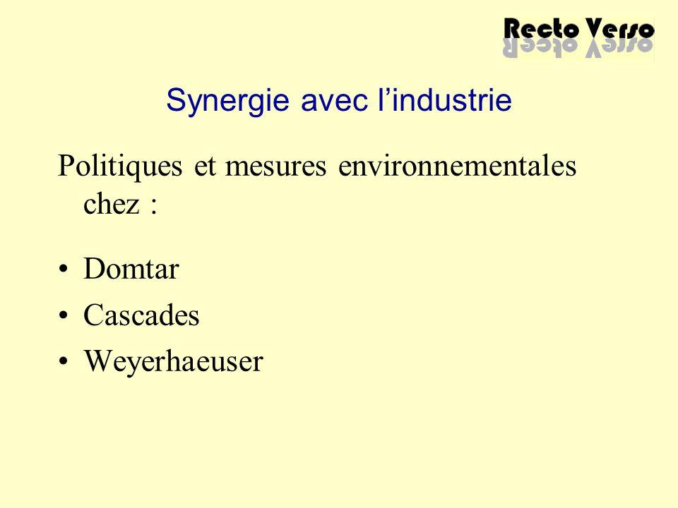 Synergie avec l'industrie Politiques et mesures environnementales chez : Domtar Cascades Weyerhaeuser