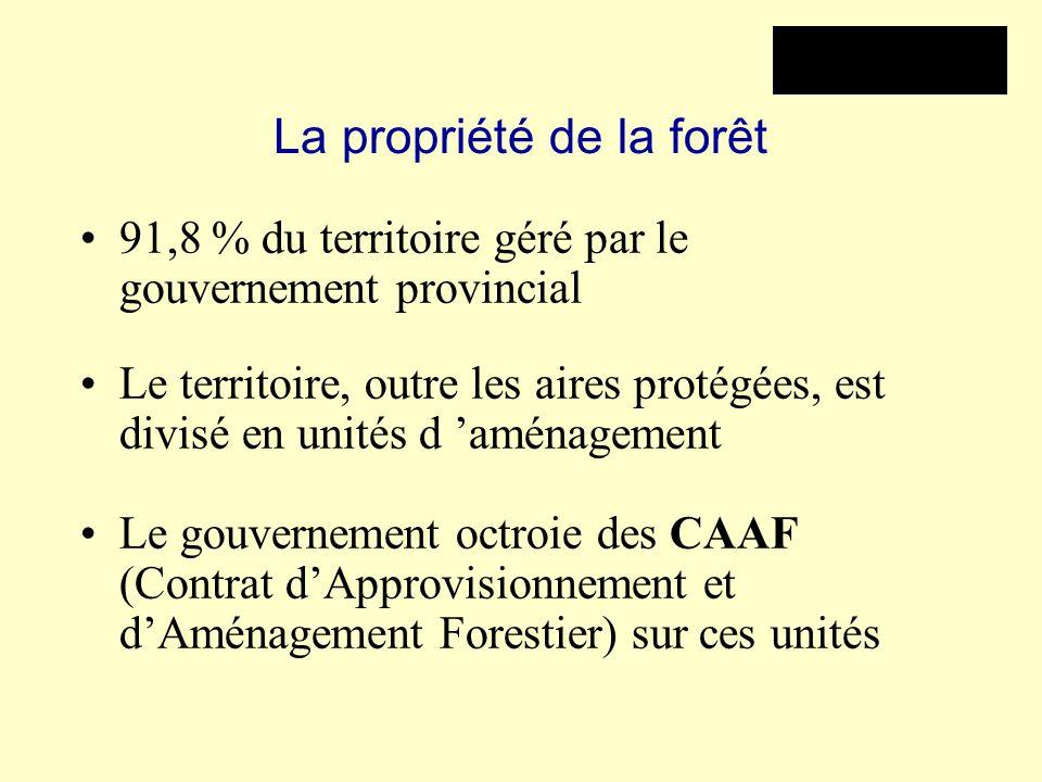 La propriété de la forêt 91,8 % du territoire géré par le gouvernement provincial Le territoire, outre les aires protégées, est divisé en unités d 'am