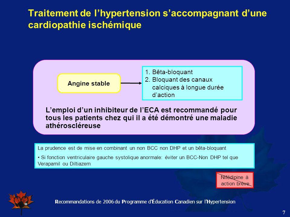 Recommandations de 2006 du Programme d'Éducation Canadien sur l'Hypertension 7 Traitement de l'hypertension s'accompagnant d'une cardiopathie ischémiq