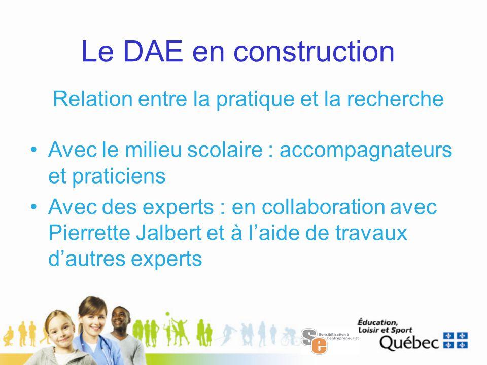 Le DAE en construction Relation entre la pratique et la recherche Avec le milieu scolaire : accompagnateurs et praticiens Avec des experts : en collaboration avec Pierrette Jalbert et à l'aide de travaux d'autres experts