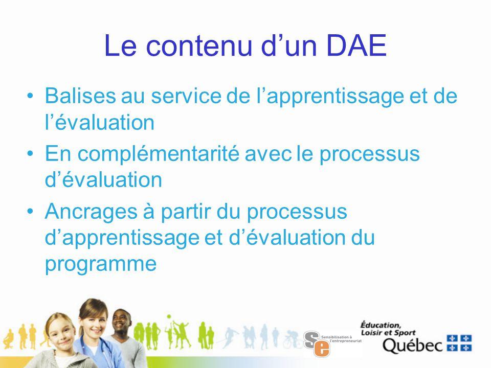 Le contenu d'un DAE Balises au service de l'apprentissage et de l'évaluation En complémentarité avec le processus d'évaluation Ancrages à partir du processus d'apprentissage et d'évaluation du programme