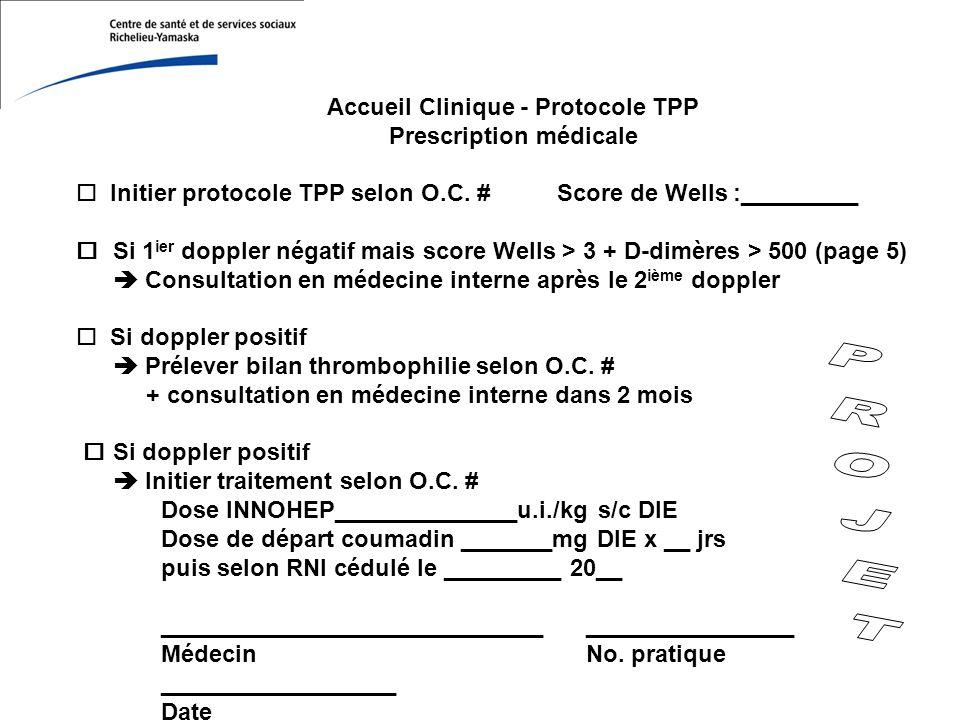 Accueil Clinique - Protocole TPP Prescription médicale o Initier protocole TPP selon O.C.