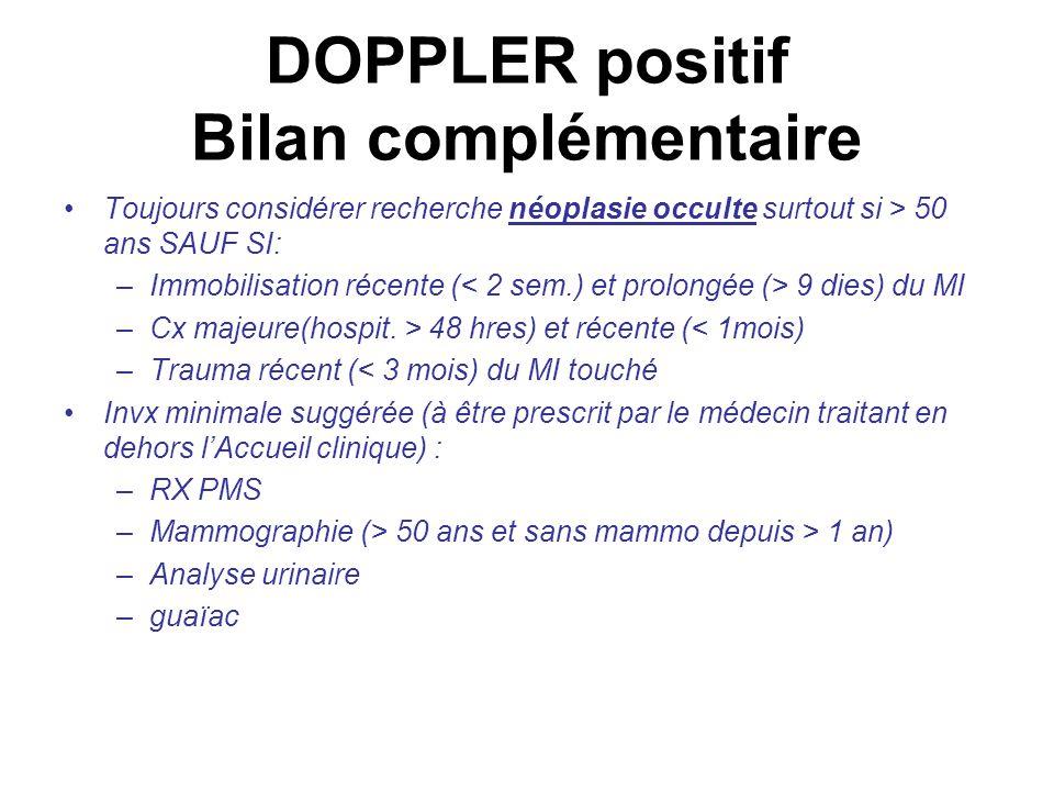 DOPPLER positif Bilan complémentaire Toujours considérer recherche néoplasie occulte surtout si > 50 ans SAUF SI: –Immobilisation récente ( 9 dies) du MI –Cx majeure(hospit.