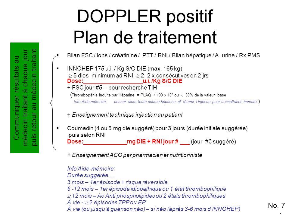 DOPPLER positif Plan de traitement  Bilan FSC / ions / créatinine / PTT / RNI / Bilan hépatique / A.