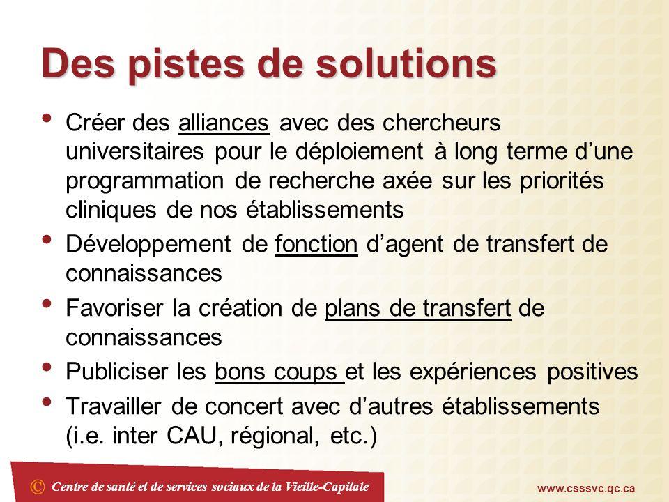 Centre de santé et de services sociaux de la Vieille-Capitale www.csssvc.qc.ca Mot de la fin Knowing is not enough; we must apply.