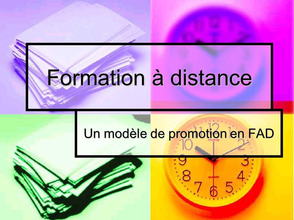 Formation à distance Un modèle de promotion en FAD