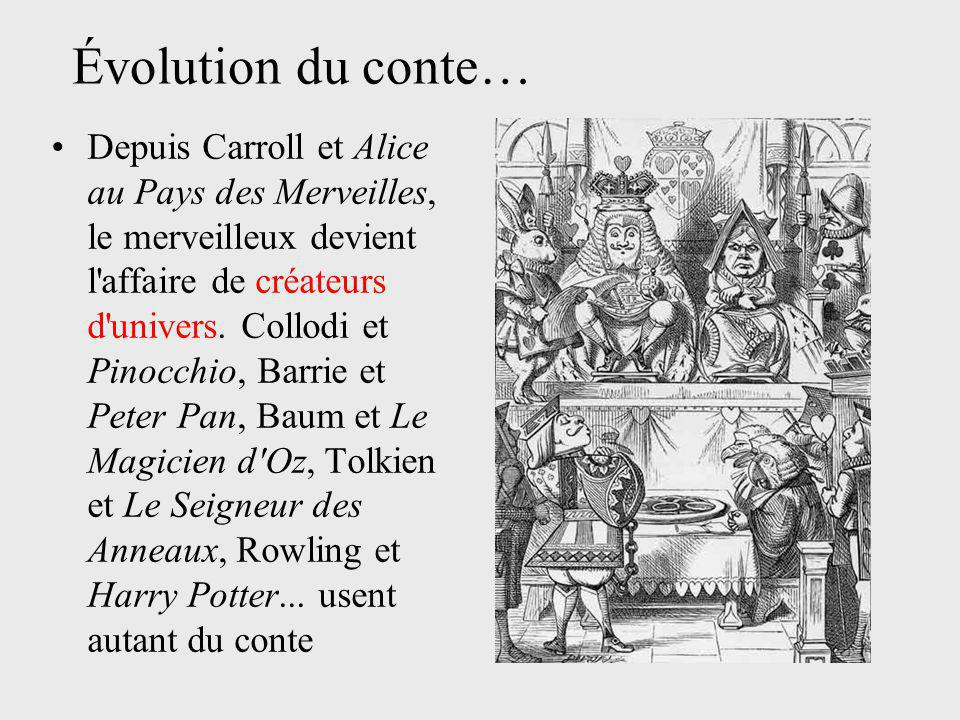 Depuis Carroll et Alice au Pays des Merveilles, le merveilleux devient l'affaire de créateurs d'univers. Collodi et Pinocchio, Barrie et Peter Pan, Ba
