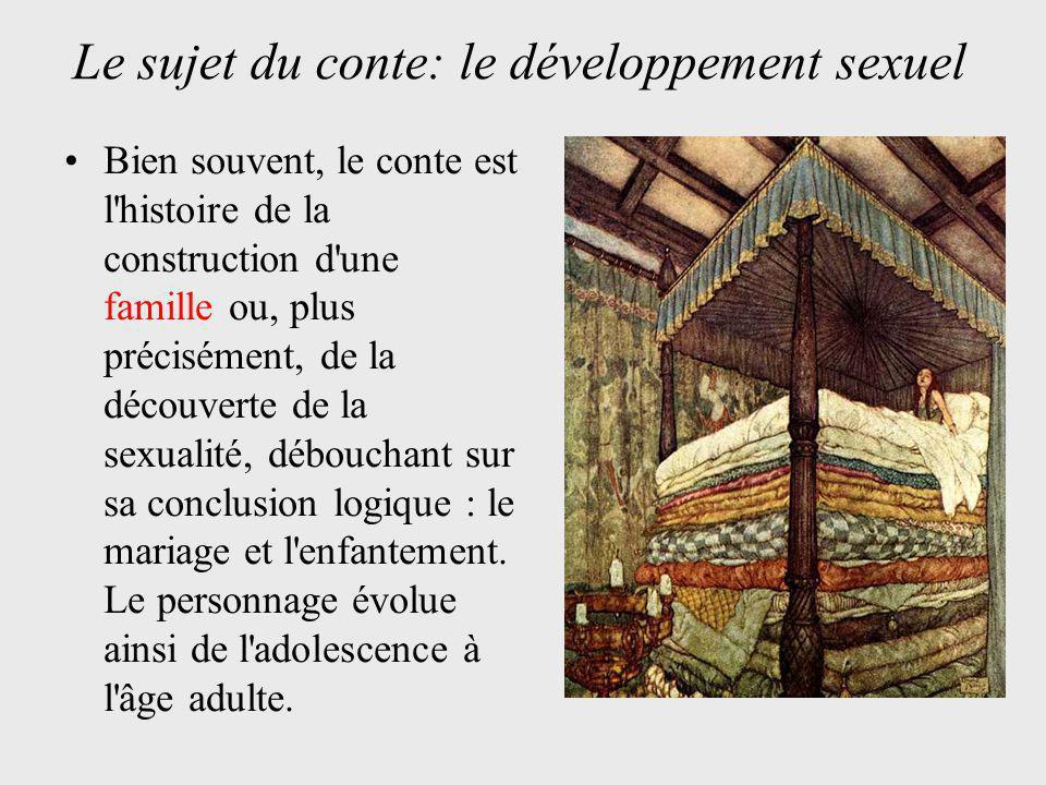 Bien souvent, le conte est l histoire de la construction d une famille ou, plus précisément, de la découverte de la sexualité, débouchant sur sa conclusion logique : le mariage et l enfantement.