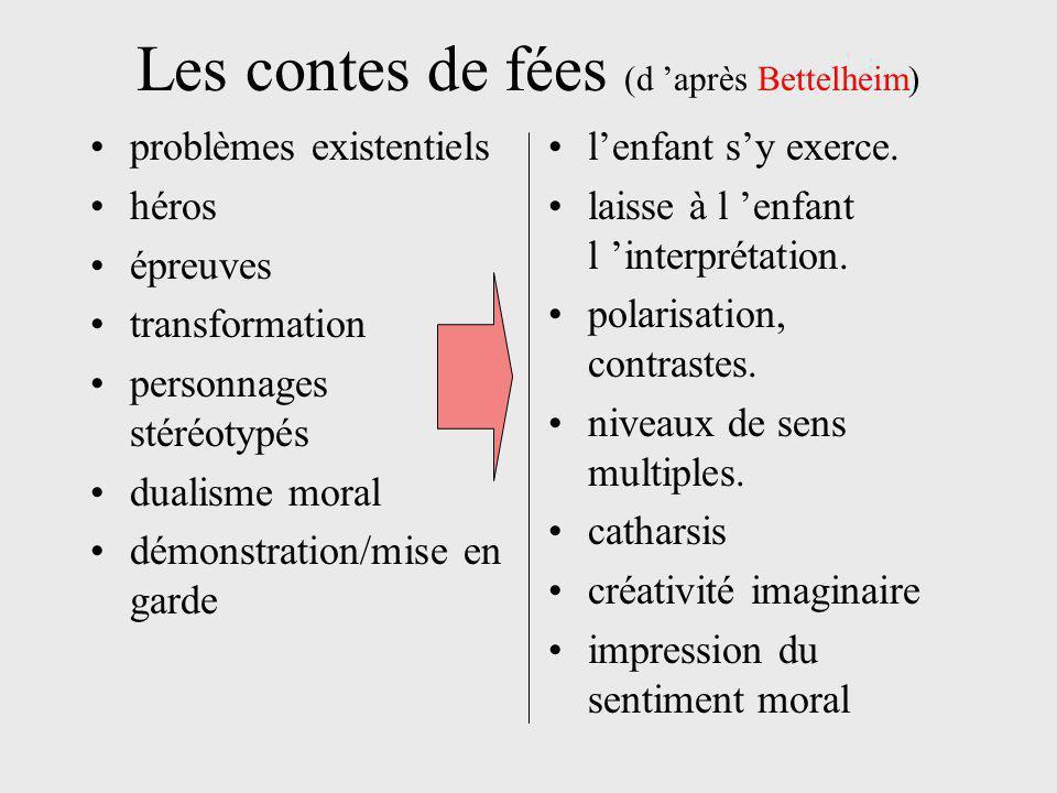 Les contes de fées (d 'après Bettelheim) problèmes existentiels héros épreuves transformation personnages stéréotypés dualisme moral démonstration/mise en garde l'enfant s'y exerce.